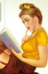 Vintage pin-up girl reading-close